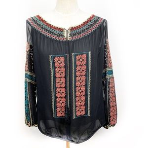 MM Couture 100% Silk Embroidered Peasant Blouse S